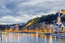 Saone river in Lyon city at evening