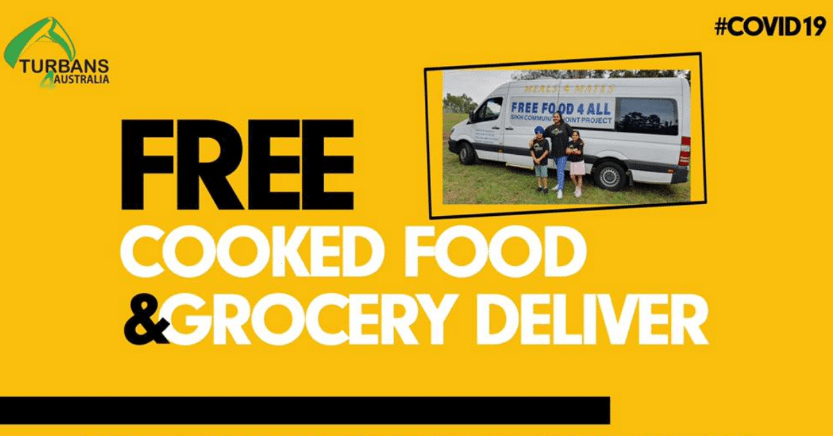 Free Cooked Food & Groceries Delivered from Turbans 4 Australia to Isolated, Elderly, & Disabled people