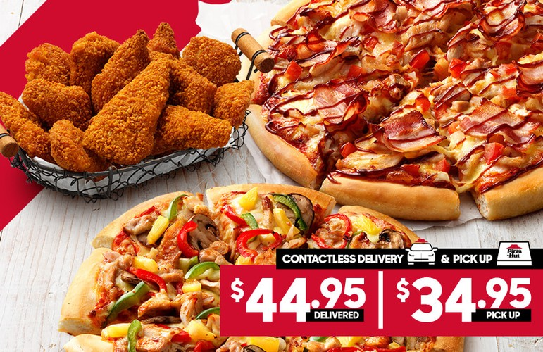 DOUBLE WINGSTREET $44.95 DELIVERED or $34.95 PICK-UP - EXPIRED Are you obsessed with Pizza Hut's WingStreet? Good news for you then! You can now get 2 large pizzas in addition to a pack of 12 WingStreet and a delivery to your doorstep for only $44.95. If you are able to pick it up, you will only have to pay $34.95 instead of the $44.95. Yes, this offer applies for both the delivery and pick-up options, so choose whatever works best for you! Want some more Pizza Hut coupons? No worries, we can share a couple more specials!