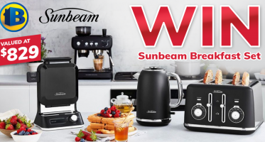 Win a Sunbeam Breakfast Set with a Kettle, Toaster, Waffle Maker, and Coffee Machine