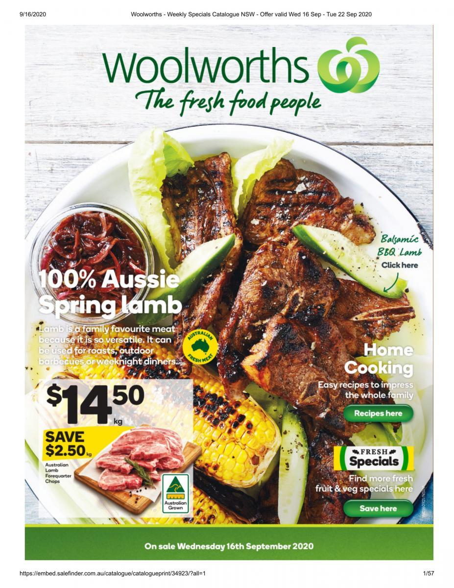 Woolworths - Weekly Specials Catalogue NSW - Offer valid Wed 16 Sep - Tue 22 Sep 2020-01