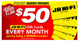 Try to win 1 of 30 x $50 JB Hi-Fi Gift Cards